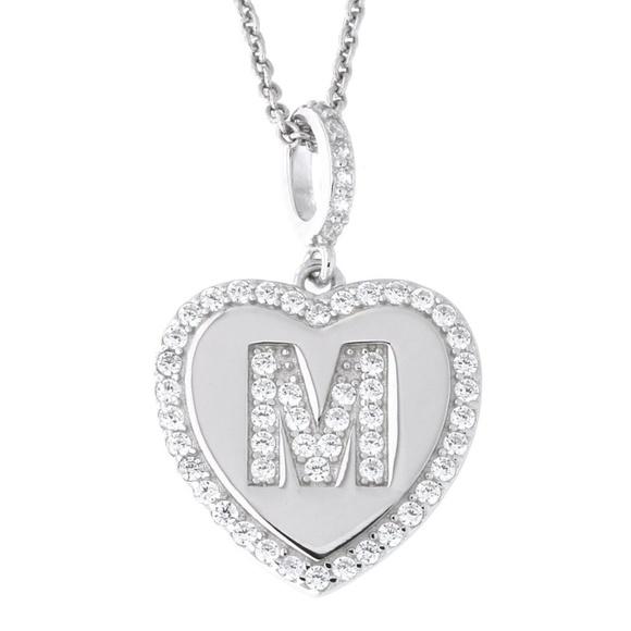 39ba8e2ffa Letter M Initial Heart CZ Pendant Sterling Silver